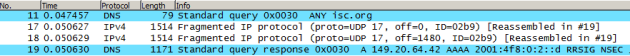 A 65-bytes request generated a 4157 bytes response in 3 segments - calculated at IP level